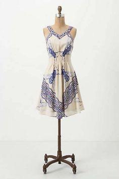 Anthropologie Leifnotes Blue Bombus Bee Print Dress