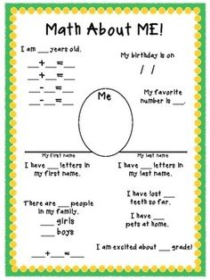 All About Me Math!  I don't teach Math...but a lot of my Pintrest friends do.  I thought I'd share this.   It looks kind of fun!