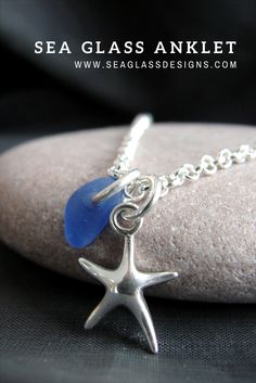 Sea glass and sterling silver anklet, custom made for you, choose your sea glass colour and the length of your chain. Genuine sea glass jewelry by Sea Glass Designs.