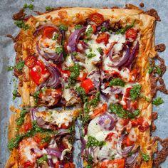 Tomato and Pesto Filo Pizza recipe. For the full recipe, click the picture or visit RedOnline.co.uk