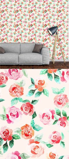 Watercolour Romantic Roses - Floral Pattern by Claudia Orengo Guardiola - The rose illustrations from this pattern were hand painted by me with watercolor. If you get the extended license, you will have a fully editable PSD file with all the paintings separated and ready to change the colors.