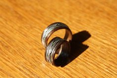 Wooden Wedding Band - Walnut & Sterling Silver Wooden Wedding Bands, Wedding Rings, Engagement Rings, Sterling Silver, Unique Jewelry, Handmade Gifts, Vintage, Etsy, Enagement Rings