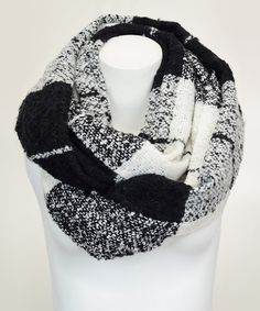 This Black Windowpane Infinity Scarf is perfect! #zulilyfinds