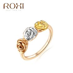 Find More Rings Information about Exquisite Vintage Flower Ring Silver Gold and Rose Gold plated Tricolor 3D Roses Flower Rings for Women Roxi,High Quality ring bind,China silver findings Suppliers, Cheap ring distribution from Blue-Ocean Fashion Jewelry on Aliexpress.com