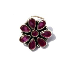 925 Solid Silver Pink Stone Studded Floral by gemsnjewelryworld