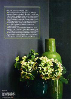 How to go green. Dark walls and hydrangea fauxs.