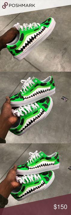 02d5ab541f Custom Bape Vans (Green) Size 9 - Custom Green Bape Vans
