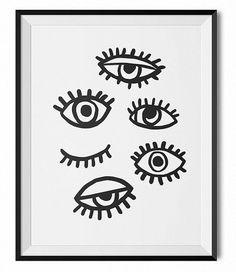 Black and white illustration, red, orange, eyes print, original illustration, kitchen print, office, dorm art, print, symbol print, icon,