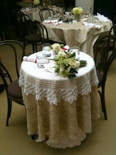 Indoor Shabby Chic Wedding :  wedding country decor shabby chic themed venue Crochet Table Topper