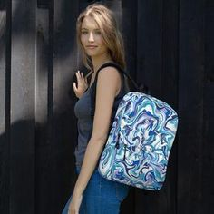 This Women's Blue Marble Backpack is just what you need for daily use or sports activities! The pockets (including one for your laptop) give plenty of room for all your necessities, while the water-resistant material will protect them from the weather. Marble Backpack, New Bicycle, Pink Marble, Vera Bradley Backpack, Are You The One, Leather Backpack, Fashion Backpack, Sports Activities, Road Cycling