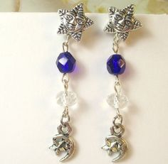 Cobalt Blue czech and silver plated Star post by beadwizzard