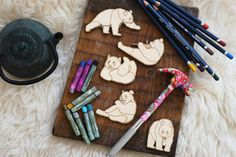 Panda set of 5 pcs laser cut plywood cutouts with engraving for DIY projects craft supplies by woodandroot. the best idea for art therapy :) ! (Craft Supplies & Tools  Scrapbooking Supplies  Embellishments & Die Cuts  wood  unfinished  Supplies  scrapbooking badge  pin  brooch  Patches  bear  animal  bamboo  forest  nature)