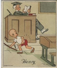 J Wix (Kensitas) Cigarette Card - Henry Series 4, Henry and the teacher's cane. Artist Carl Anderson