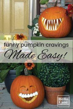 Funny Pumpkin Carvings Made Easy | Bello Lane Small Pumpkin Carving Ideas, Funny Pumpkin Carvings, Pumpkin Ideas, Funny Pumpkins, Small Pumpkins, Halloween Season, Halloween Crafts, Halloween Ideas, Halloween Stuff