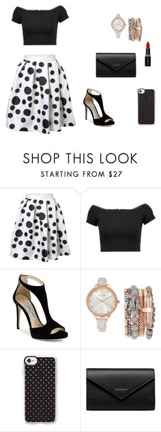 """""""Polka dots"""" by britney-pitts ❤ liked on Polyvore featuring Alice + Olivia, Jimmy Choo, Jessica Carlyle, Casetify, Balenciaga and Smashbox"""