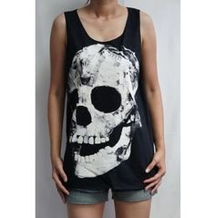 Skull Shirt Art Punk Emo Rock Men T-shirt Tank Top Vest