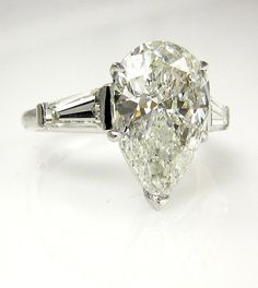 4.01ct Antique Vintage Solitaire PEAR Shaped and Baguettes Diamond Engagement, Anniversary Platinum Ring EGL USA Certified on Etsy, $16,990.00