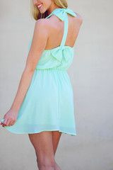 Tea For Two Bow Dress: Mint