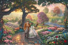Gone With The Wind by Thomas Kinkade - In my painting, Gone With The Wind, I wanted to capture this central romance but also give a small taste of the gentile old south. Fragrant flowers and lush rolling hills surround Tara, the homestead of the O'Hara family, and serve as quiet sentinels to this way of life. My painting is populated with favorite film characters and rendered in small cinematic vignettes designed to capture all of the drama and nostalgia of this Hollywood spectacular...