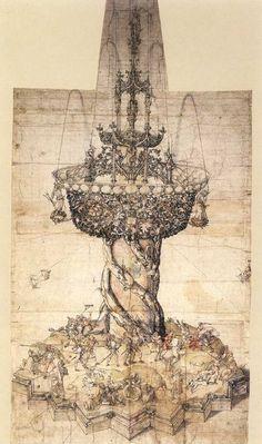 "Albrecht Dürer as Designer, sketch for a table fountain, 1500 © British Museum, London. "" This elaborate fountain was for display at a civic banquet table in Nuremberg. British Museum, Table Fountain, Albrecht Dürer, Renaissance Kunst, Jan Van Eyck, Cleveland Museum Of Art, Principles Of Art, Hieronymus Bosch, Italian Artist"