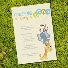 Baby Shower Animals Invitation for a Boy or Girl | Sprogs