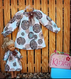 Girl's Boutique Peasant Dress & Matching Doll Dress for 18 inch dolls...fits AMERICAN GIRL dolls....