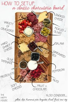 How to Setup a Classic Charcuterie Board Charcuterie Recipes, Charcuterie And Cheese Board, Charcuterie Platter, Cheese Boards, Charcuterie Picnic, Antipasti Board, Antipasto Tray, Plateau Charcuterie, Party Food Platters