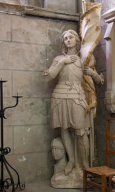 Statue of St. Joan of Arc, Dol Cathedral, Dol de Bretagne, Brittany, France Joan D Arc, Saint Joan Of Arc, St Joan, Jeanne D'arc, Joan Of Arc Statue, Arm Armor, Catholic Saints, Women In History, Religious Art