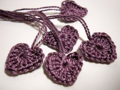 5 Tiny Lavender Crocheted Heart Motifs Valentines by StitchKnit, $4.00
