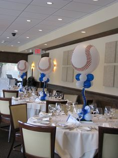 Clever baseball themed centerpieces balloon centerpiece design of softball party decorations baby Baseball Party Centerpieces, Banquet Centerpieces, Balloon Centerpieces, Balloon Decorations, Baseball Decorations, Beer Decorations, Baseball Crafts, Baseball First Birthday, Bar Mitzvah Party