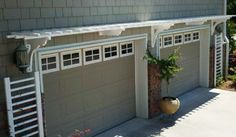Exterior Design, Interesting Traditional Exterior With White Pergola Design Or Called Garage Arbor Kits Also Lovely Garden Plant On Ceramic Jar And Concrete Floor Material: Getting The Coolest Arbor Designs For Your Home Garage Trellis, Garage Pergola, House Exterior Color Schemes, Exterior Design, Ranch Exterior, House Trim, White Pergola, Garage House, Garage Doors