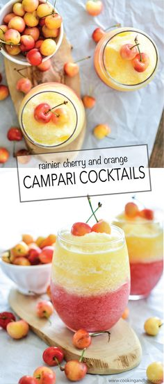 Rainier Cherry and Orange Campari Cocktails: a frozen cocktail recipe that's perfect for those warm summer nights! | www.cookingandbeer.com