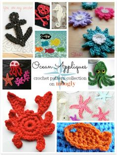Something Smells Fishy… It's 10 Free Ocean Applique Crochet Patterns! Something Smells Fishy… It's 10 Free Ocean Applique Crochet Patterns! Think some of these would be really cute on a summer shawl. Crochet Mignon, Crochet Fish, Cute Crochet, Crochet Crafts, Yarn Crafts, Crochet Projects, Crochet Animals, Crochet Shark, Beach Crochet
