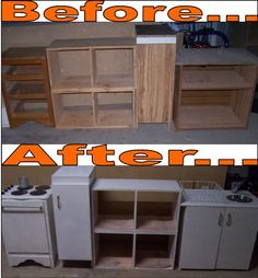 """My version of an """"upcycled"""" outdoor play kitchen for my boys."""