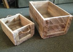 Boxes made from reclaimed pallet wood