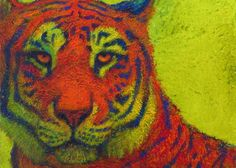 lime green orange colorful contemporary tiger print for sale Tiger Print, Animal Paintings, Green And Orange, Powerful Women, Teal Blue, Fine Art Paper, Lisa, Colorful, Bear