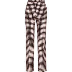 Bottega Veneta Polka-dot twill wide-leg pants (24,805 PHP) ❤ liked on Polyvore featuring pants, pastel pink, pink high waisted pants, high-waist trousers, high-waisted wide leg pants, pink wide leg pants and polka dot pants