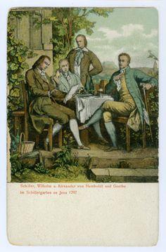 Schiller, Wilhelm und Alexander von Humboldt und Goethe im Schillergarten in Jena 1797, Verlag Alfred Bischoff in Jena