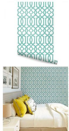 Modern Trellis Green Peel and Stick Wallpaper  - Wall Sticker Outlet
