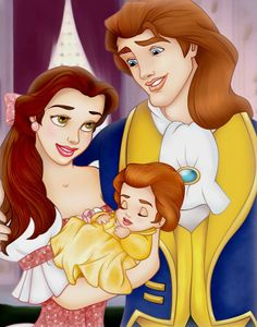 Belle and Prince Adam and Their Baby Daughter