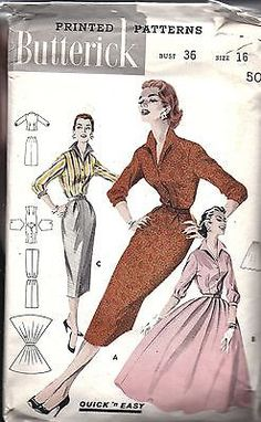 ^Butterick Vintage SEWING Pattern Misses 1950's Quick Easy Blouse Skirt 7953 16