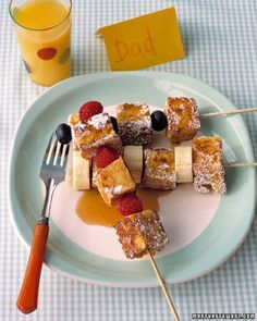 French Toast Kebabs - Martha Stewart #recipes cooking #nourishment #food| http://cooking-recipe-noemie.blogspot.com