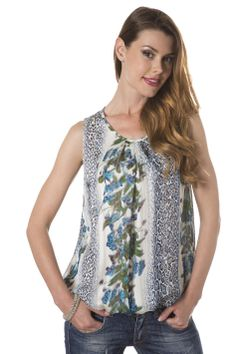 Collezione MIREAlady: top in georgette stampa animalier e fiori blu. Colori tenui per un look sobrio! #moda #fashion #shopping #madeinitaly