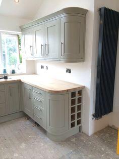 Heritage Grey Oak Kitchen with Oak Worktops & tall designer radiator. ❤️ my new kitchen
