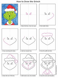 Art Projects for Kids: How to Draw the Grinch. Describe what the Grinch is like and if you have ever felt like a Grinch. Christmas Art Projects, Christmas Activities, Projects For Kids, Holiday Crafts, Holiday Fun, Crafts For Kids, 2nd Grade Christmas Crafts, Christmas Drawings For Kids, Family Crafts