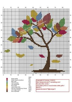 cross-stitched autumn tree - I would change some of the leave's color Cross Stitch Tree, Cross Stitch Heart, Cross Stitch Flowers, Blackwork Patterns, Embroidery Patterns, Canvas Template, Cross Stitching, Cross Stitch Embroidery, Cross Stitch Designs