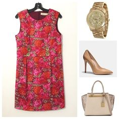 Michael Kors Floral Print Dress Go floral this season with this red-orange floral print tunic/A-line silhouette with cute buttons and box pleats on front and back for added details. Pair with platform heels for a day to night look. In excellent used condition.   - All over floral print - Round neckline - Sleeveless design - Casual fit - Hidden zip back fastening MICHAEL Michael Kors Dresses