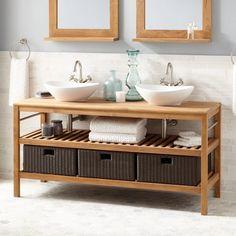 48 Quot Salinas Teak Vessel Sink Vanity With Makeup Area Teak Vanities Bathroom Vanities Bathroom Honey S House Makeup Vanity Furniture