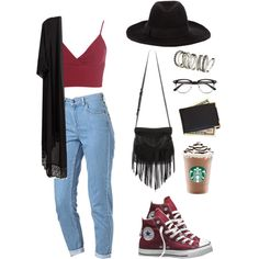 A fashion look from January 2015 featuring Miss Selfridge tops, Topshop jeans and Converse sneakers. Browse and shop related looks.