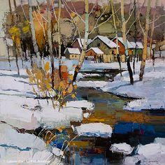 Iosif Derecichei, 'Let me Stay Here for Landscape Quilts, Abstract Landscape, Landscape Paintings, Abstract Art, Winter Painting, Winter Art, Art Gallery, Impressionist Art, Art Abstrait